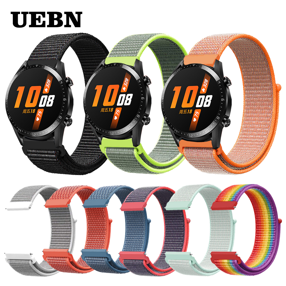UEBN 20mm 22mm Nylon Sport Loop Replacement Breathable Band For HUAWEI WATCH GT 2 Strap HONOR Magic GT Active 2 Watchbands