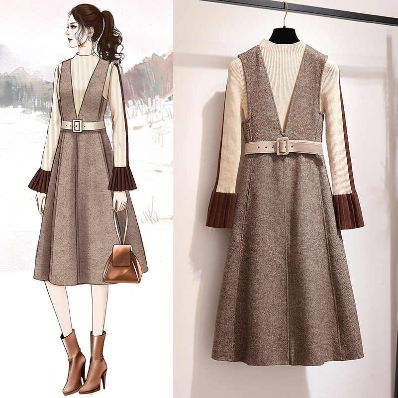 Printemps automne robe femmes vêtements 2019 Vintage coréen élégant robe deux pièces ensemble pull robe dames robes Vestidos MY2331