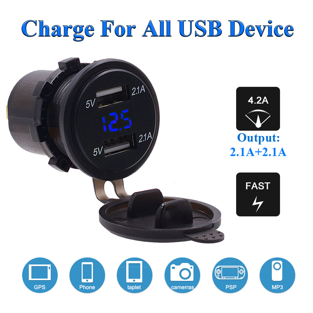 Car Motorcycle 12V 4.2A Dual USB Charger Socket Blue LED Light Voltage Voltmeter