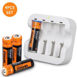 3500mWh 1.5V AA Lithium Rechargeable Battery with 4 slot charger, Constant Output 1.5V 1200 Cycles [4 battery&1charger]