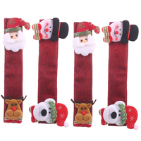 4 Pcs Set Christmas Decoration Microwave Oven Gloves Burlap Refrigerator Gloves Oven Cover Kitchen Decoration Accessories