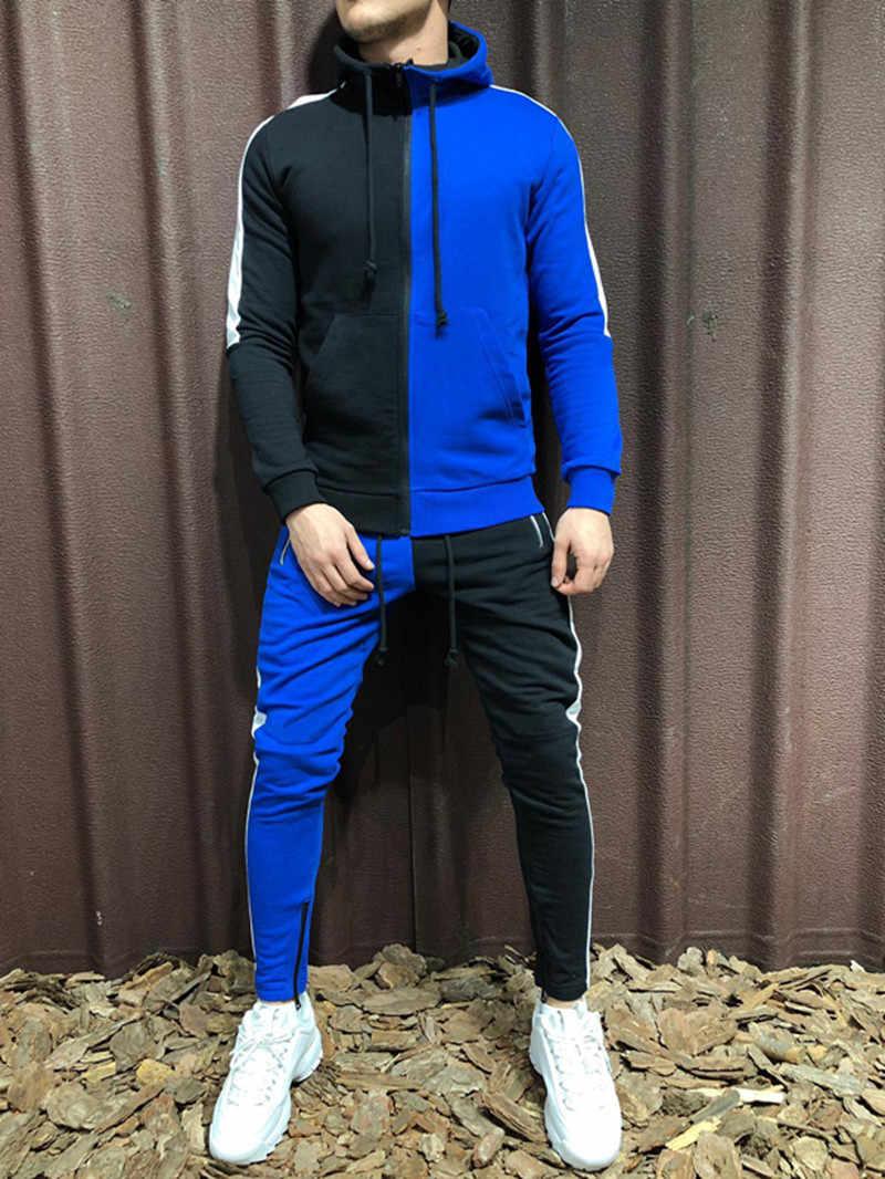 Jesień mężczyźni zestawy moda Colorblock bluzy z kapturem kurtka Top i spodnie dresowe garnitur mężczyzna 2 sztuk ustawia dres odzież sportowa zestaw