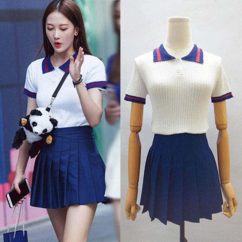 Douyin Chengdu Sweets White Short-sleeved Stripes Sweater + A- Line Short Skirt Set