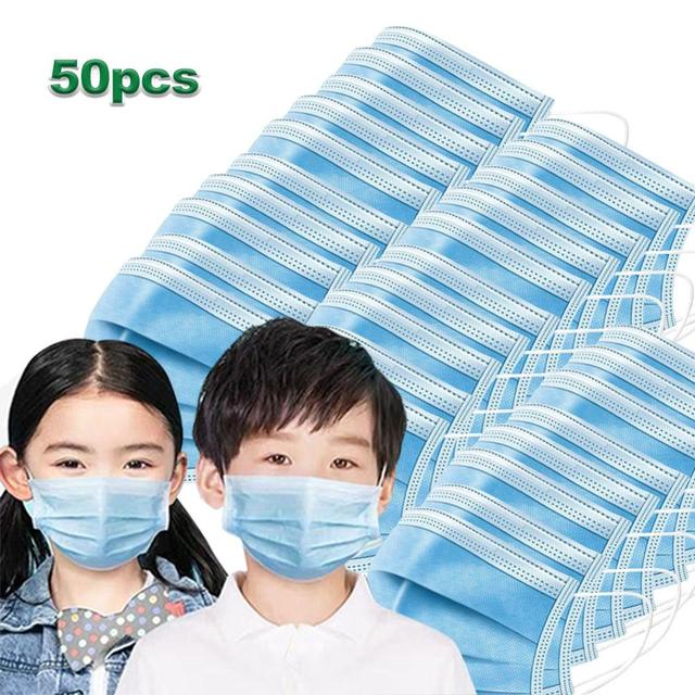 50 pcs Disposable Child Protective Mask Three-layer Dust-proof Bacterial and Flu-proof Mask with Melt-blown Cloth Breathable