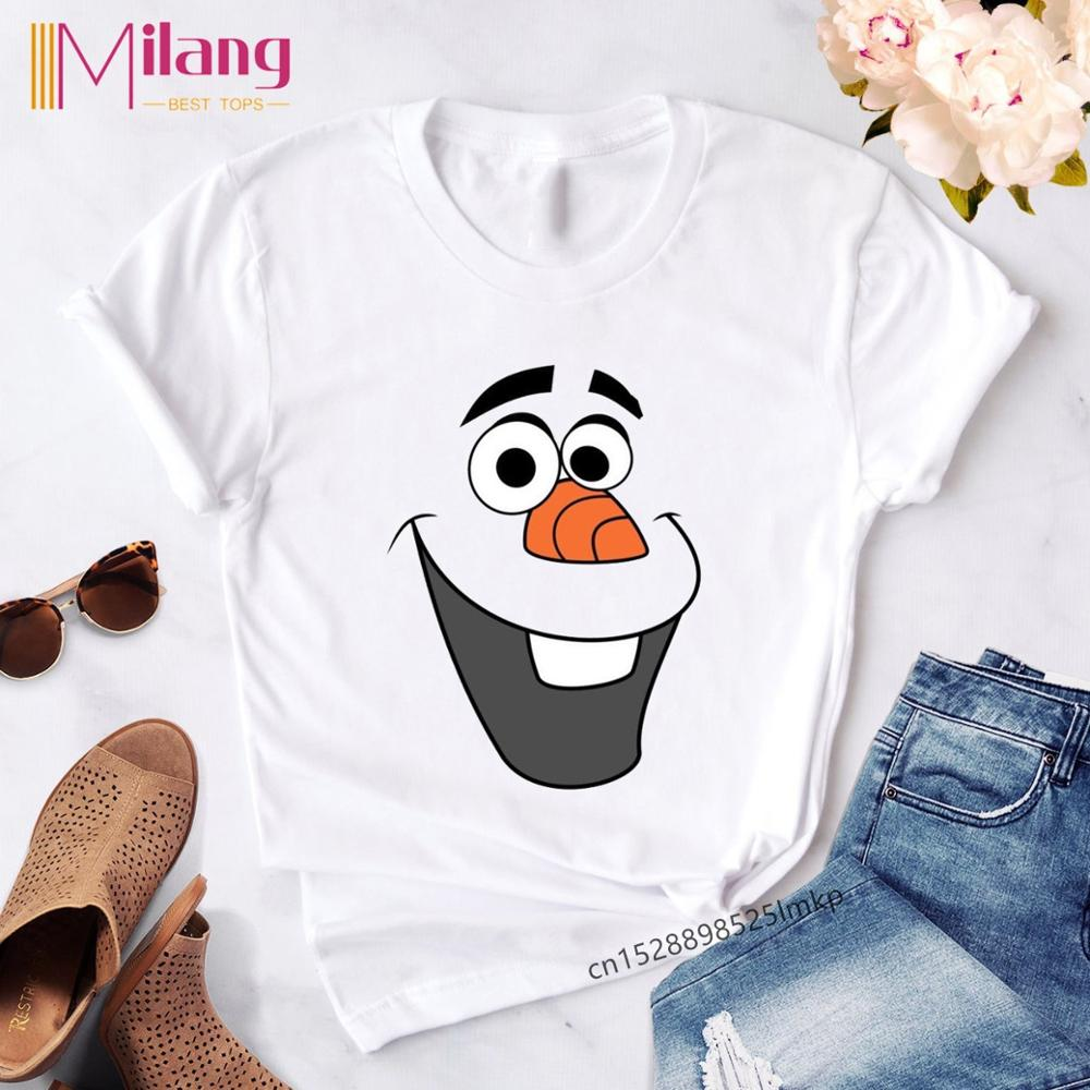 Women's Kawaii Olaf Print T Shirt Women Cartoon Streetwear T-shirt Female Harajuku Casual Ropa Tshirs Clothe Tops