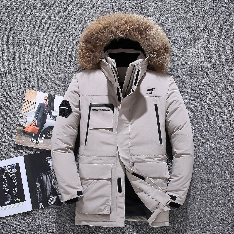 -40 degrés résistant au froid russie hiver extérieur veste hommes de haute qualité véritable col de fourrure épais chaud blanc canard vers le bas hommes winte