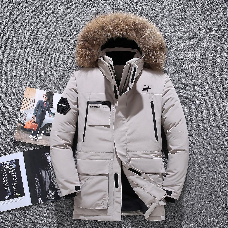 -40 degrés résistant au froid russie hiver veste d'extérieur hommes top qualité véritable col en fourrure épais chaud blanc canard vers le bas hommes winte