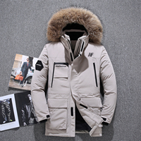40 degree cold resistant Russia winter outdoor jacket men top quality genuine fur collar thick warm white duck down men's winte