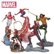 22-27 см игрушки Marvel Мстители Фигурка Человека-паука Железный человек танос Марк MK47 Дэдпул Дэнверс статуя ко железная студия фигурки