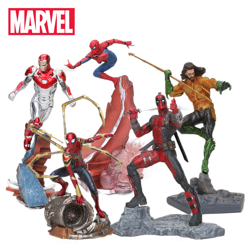 22-27cm Marvel Toys Avengers Action Figure Spiderman Ironman Thanos Mark MK47 Deadpool Danvers Statue KO's Iron Studio Figures