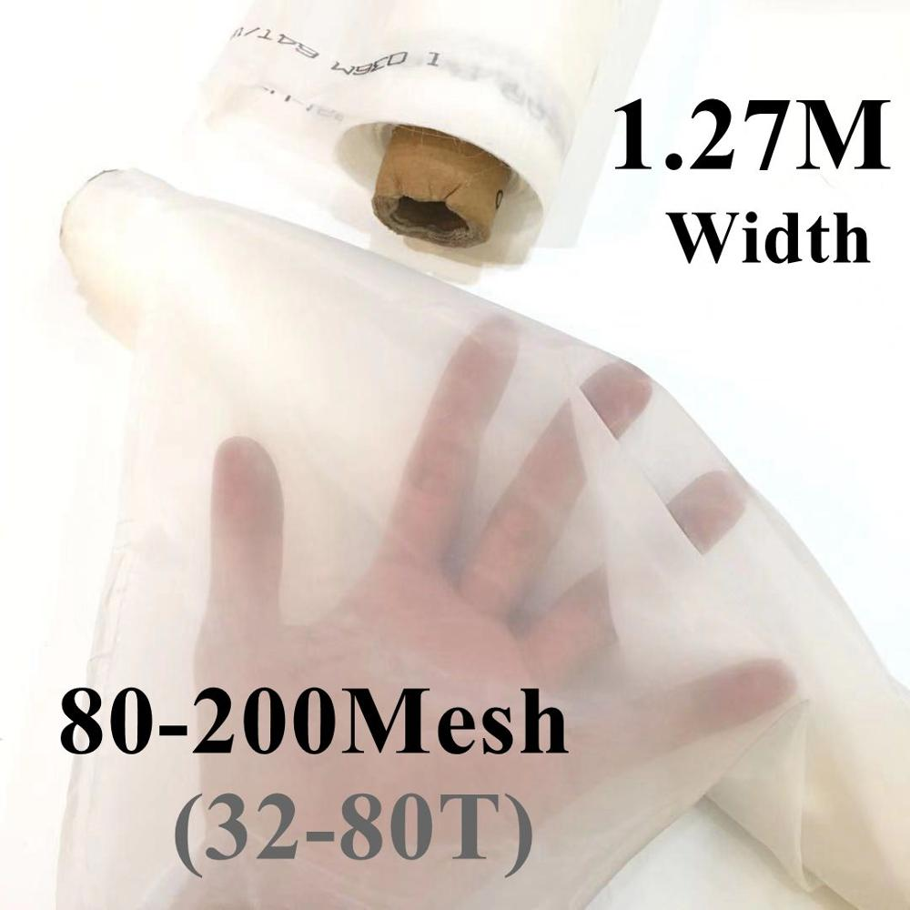 127CM Width 80-200M Polyester Screen Printing White Mesh 32T/39T/47T/53T/62T/72T/80T Silkscreen Printing Mesh Fabric Filter Net