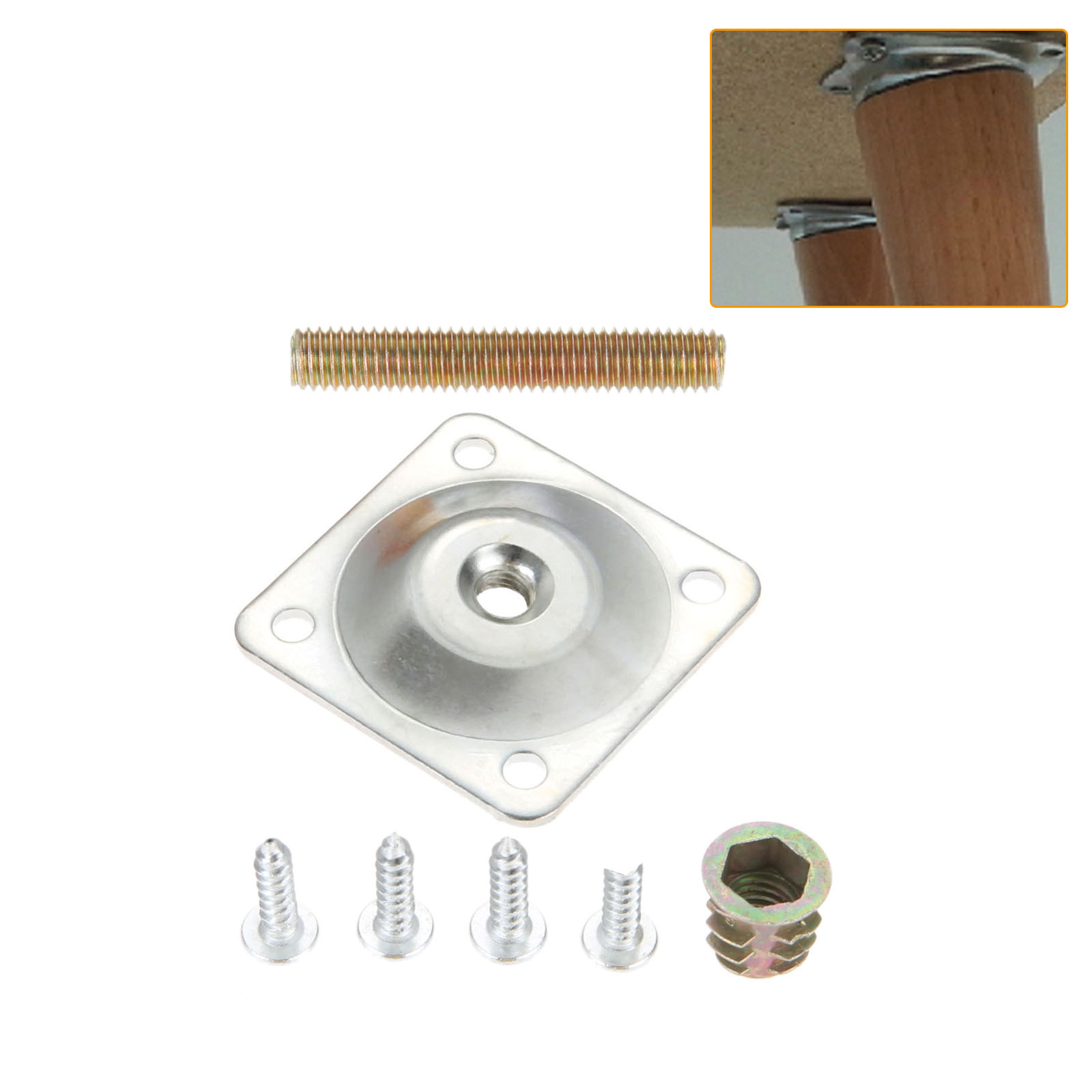 DRELD Iron Furniture Leg Mounting Plates 48x48mm Soft Table Chair Feet Attachment Plates With Hanger Bolts Screws Adapters