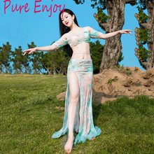 New Women Belly Dance Clothes Dancewear set top+skirt 2pcs bellydance Practice Costume Mesh Dress