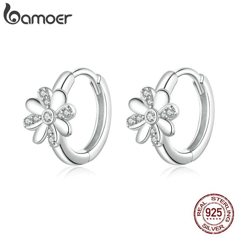 Bamoer Authentic 925 Sterling Silver Daisy Flower Hoop Earrings For Women Elegant Wedding Engagement Statement Jewelry BSE359