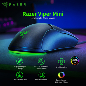 Image 2 - Original Razer Viper Mini 61g Leichte Verdrahtete Maus 8500DPI PAW3359 Optische Sensor RGB Gaming Maus Mäuse SPEEDFLEX Kabel