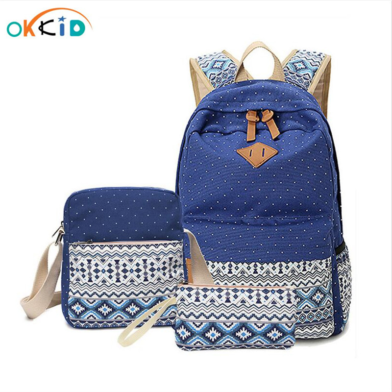 2019 vintage school bags for girls kids bag canvas backpack women bagpack children backpacks dot shoulder bags blue pencil case|school bags|school bags for|school bags for girls - title=