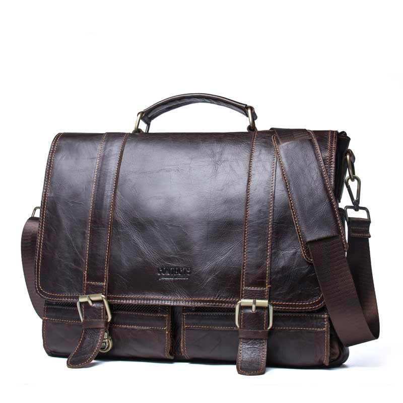 Genuine Leather Mens Laptop Messenger Bags Leisure Time Business Affairs Document Layer Cowhide Man Diagonal Computer Briefcase