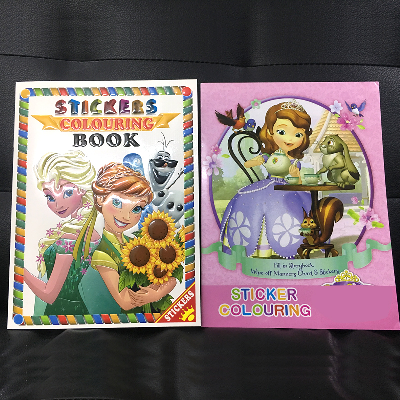 2pc/set 16 Page Sofia Snow Princess Coloring Book Sticker Book Children Adults Drawing/comic/cartoon Colouring Books For Kids