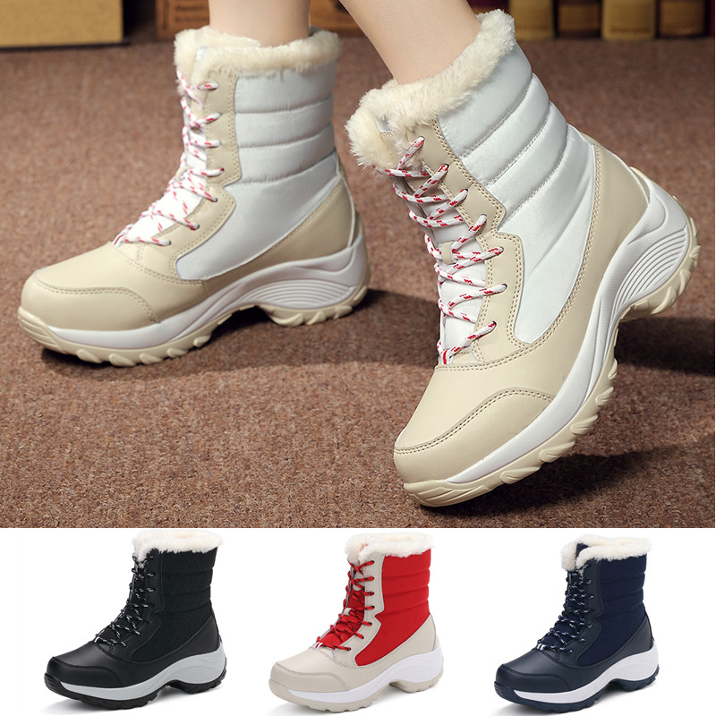 Womens Fashion Winter Warm Snow Boots Mid Calf Outdoor Walking Non-Slip Shoes for Skiing