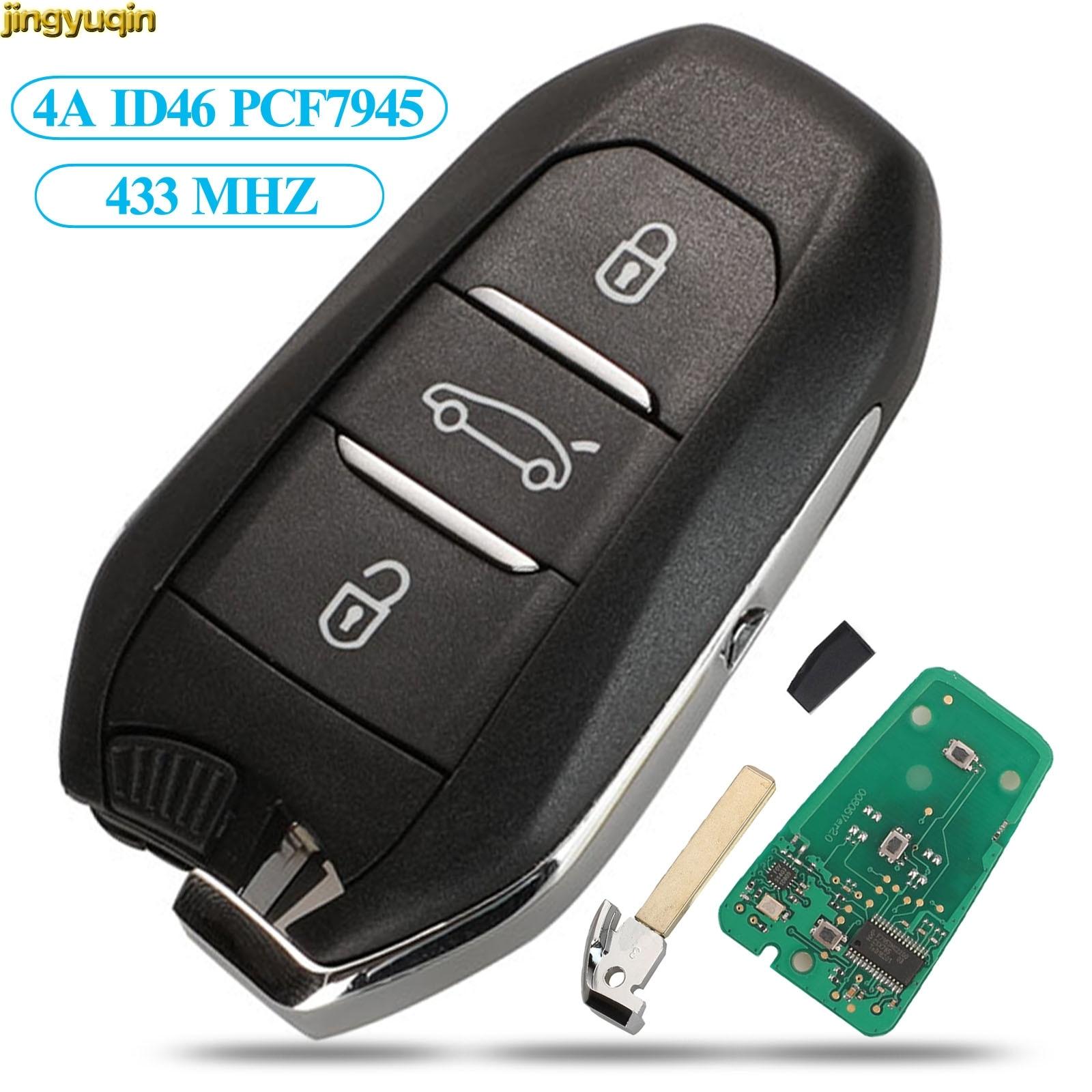 Jingyuqin дистанционного ключа Управление 433 МГц HU83 ID46 HITAG2 для peugeot 208 308 508 3008 5008 Citroen C4 DS4 DS5 аварийного салона автомобиля