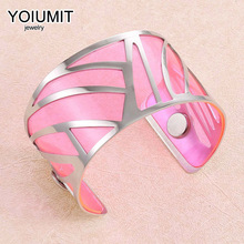 Cremo Hollow Wide Bracelet Argent Cuff Bangles For Women Bijoux Yoiumit Stainless Steel Jewelry Interchangeable Leather Pulseira