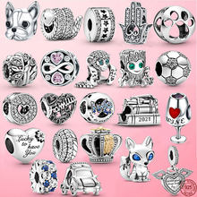 2021 New 925 Sterling Silver Clip Star footprint Heart Cactus Charm Beads Fit Original Pandora Bracelet Fine Silver Jewelry Gift