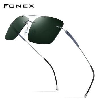 FONEX Titanium Alloy TR90 Rimless Sunglasses Men 2020 New Ultralight Screwless Square Women Polarized Sun Glasses for Men 20009 2018 new arrival jump stilt skyrunner for adult adjust bounce stilts men upgrade version alloy square
