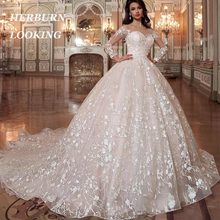 Ball-Gown Wedding-Dress Robe-De-Mariee Appliques Lace Long-Sleeves Princess Sposa Gorgeous