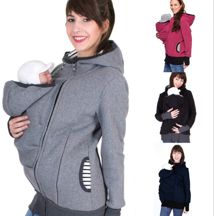 Maternity Mother Kangaroo Clothes Parenting Child Winter Pregnant Women 'S Sweatshirts Baby Carrier Wearing Hoodies