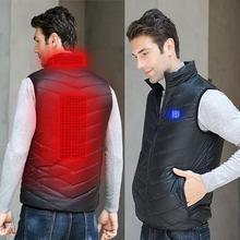 Жилет с электрическим подогревом, куртка для мотоцикла, интеллектуальный инфракрасный нагревательный жилет, зарядка через usb, сохраняет тепло, термальное пальто большого размера