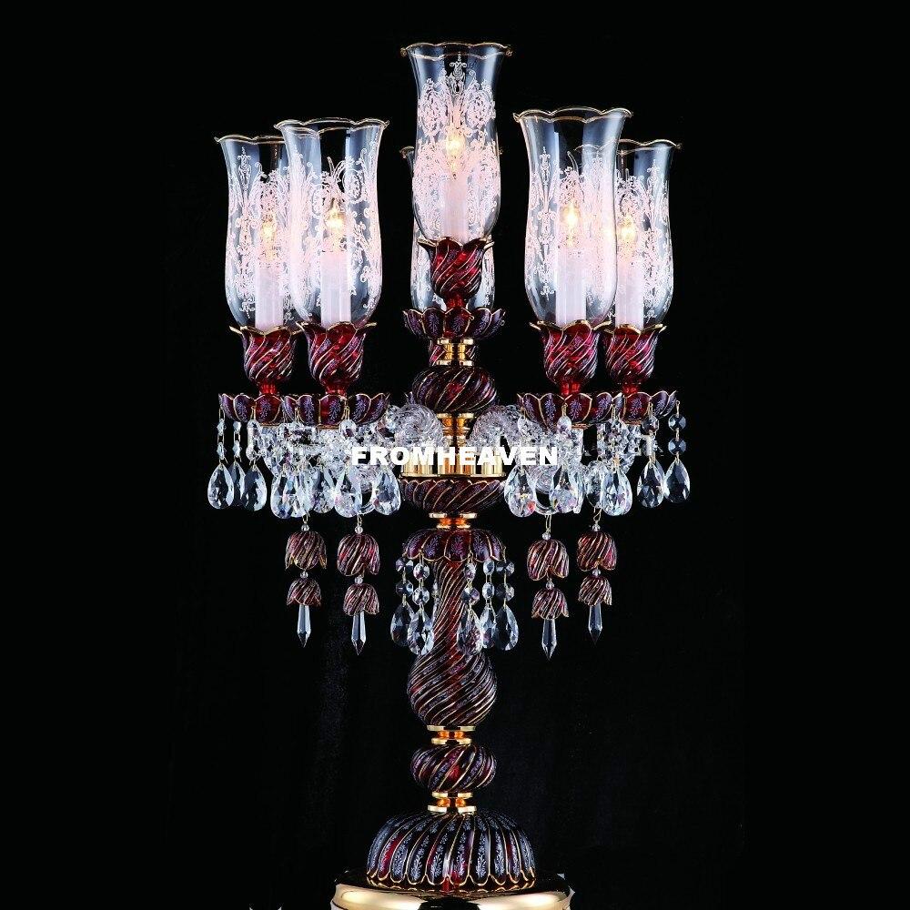 Modern Beauty Art สูงเกรดสีทอง K9 โคมไฟคริสตัลหรูหรา Lustres De Cristal โคมไฟตั้งโต๊ะโคมไฟข้างเตียงแสง