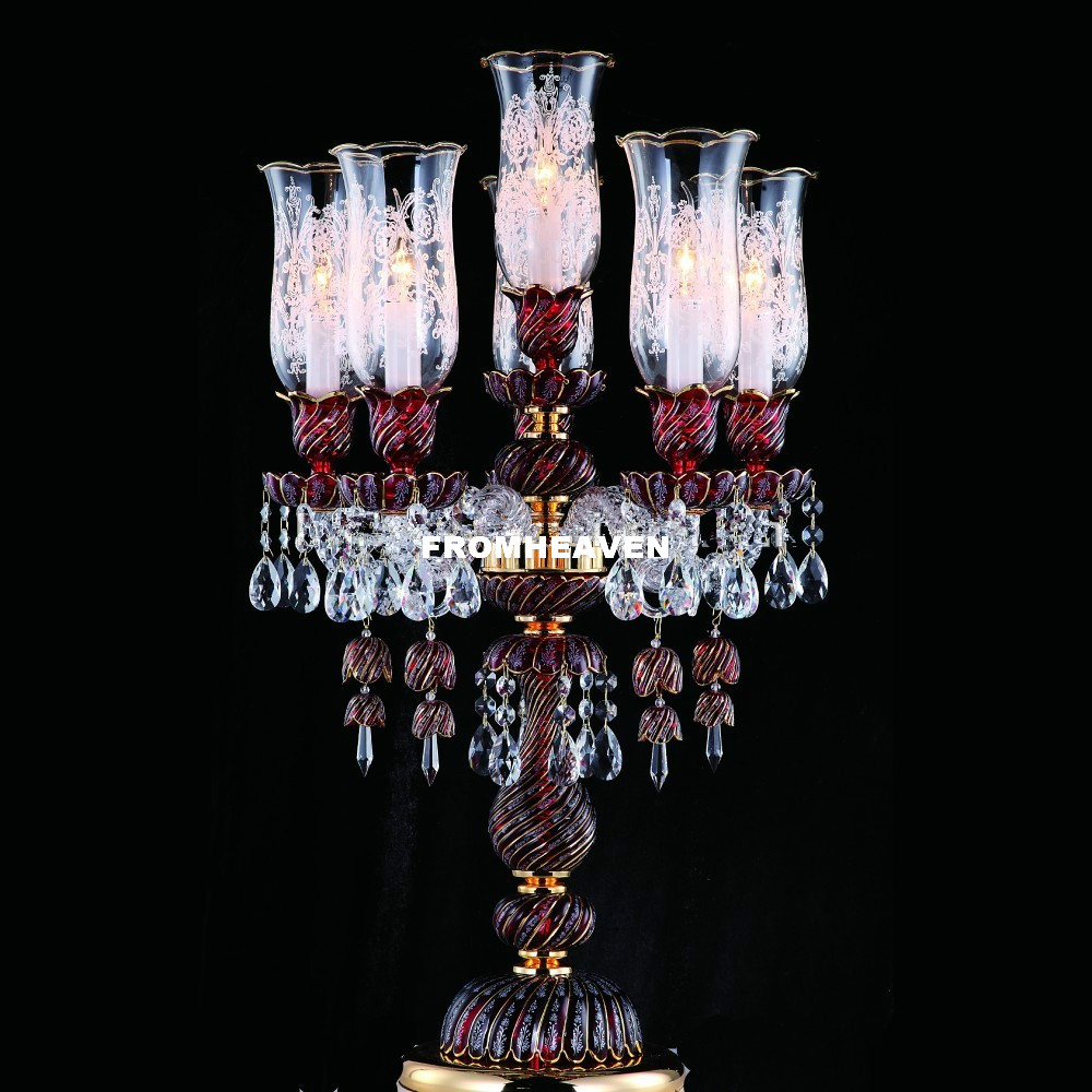 Moderne Schönheit Kunst Hohe Grade Goldene Farbe K9 Kristall Tisch Lampe Luxus Lüster De Cristal Tisch Lampe Boden Lampe Nacht beleuchtung