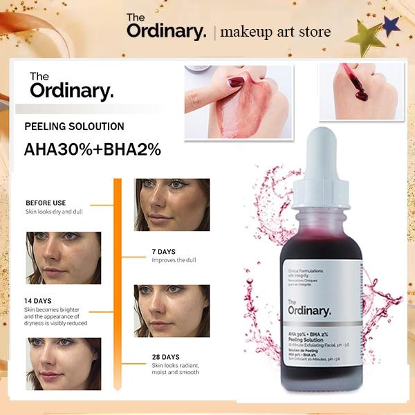 The Ordinary AHA 30% + BHA 2% Peeling Solution Skin Care 10-Minute Exfoliating Face Facial Serum Remove Acne Whitening Skin Care