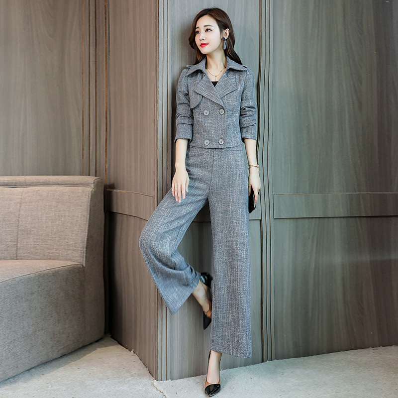 Autumn New Elegant Double-Breasted Blazer Women Two Piece Set Fashion 2020 Office Lady Slim Fit Wide Leg Pants Set Gray M-2XL