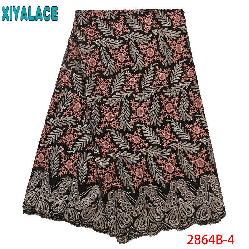 African Lace 2019 Swiss Voile Lace New Embroidered Fabric Voil Lace Swiss Lace African Lace With Stones KS2864B-4