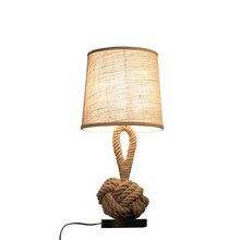 Lámpara de mesa estilo americano retro cuerda creativa lámpara de noche de arte manual dormitorio estudio Oficina cafetería iluminación de bar