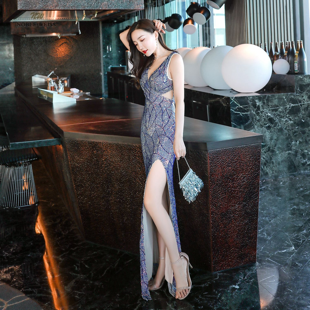 Sexy Prom Dresses Split Side Floor-Length In Stock Flexible Sequin V-Neck Evening Dresses