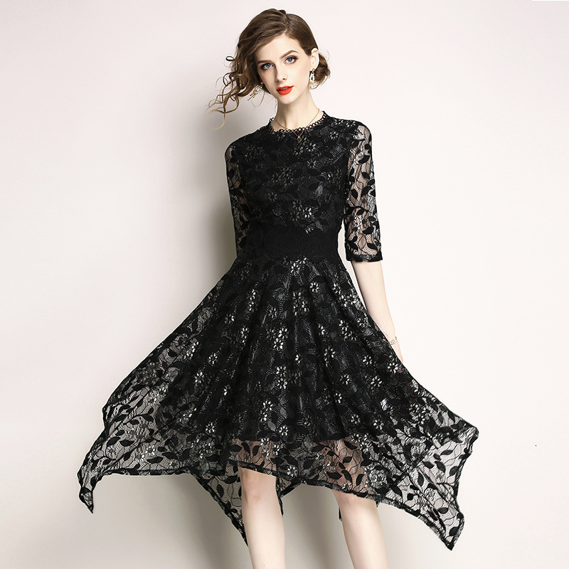 BacklakeGirls 2019 New Arrival Fuchsia Black Red Scoop Neck Half Sleeves Knee-length Lace Cocktail Dress Vestido Festa