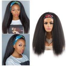 Headband Wigs Yaki Afro Kinky Straight Synthetic Cosplay Heat-Resistant Long Black-Women