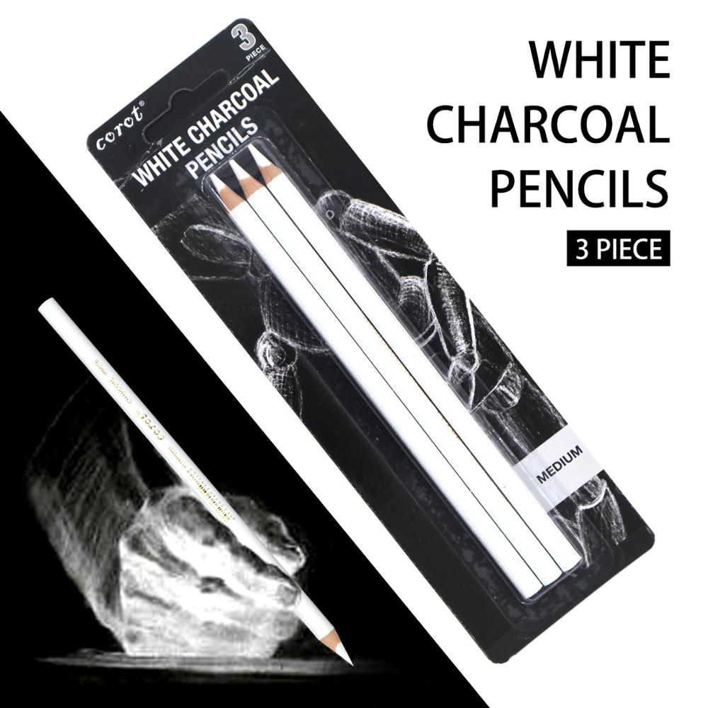 COROT 3Pcs White Sketch Charcoal Pencil Standard Pencil Drawing Pencils Set For Painter Painting Art Supplies
