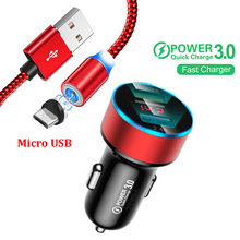 LED wyświetlacz QC 3.0 ładowarka samochodowa magnetyczny kabel Micro USB do Samsung S4 S6 S7 J3 J7 A3 A6 A7 A8 2017 2018 OPPO A5 A9 2020 telefonów