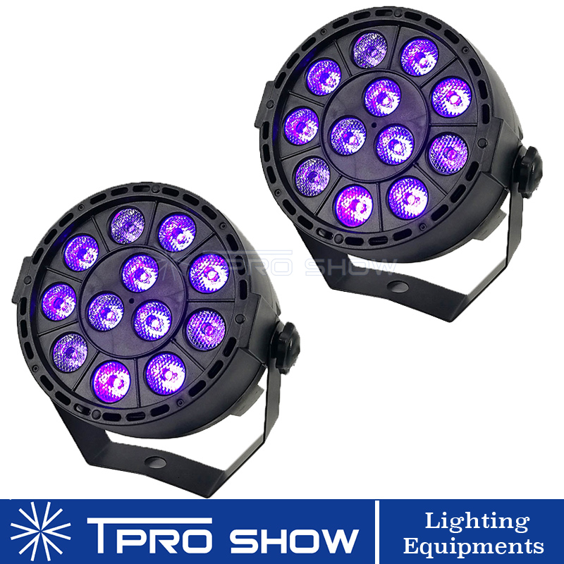 2pcs <font><b>LED</b></font> <font><b>Par</b></font> UV Light <font><b>12</b></font> Lamp Blacklight <font><b>Dmx</b></font> Stage Lighting Effect Sound Party Lights For DJ Club Disco <font><b>RGB</b></font> 3in1 <font><b>Par</b></font> <font><b>LED</b></font> Option image