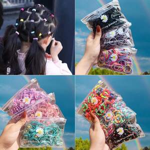50/20PCS/Bag Girls Colorful Cartoon Nylon Elastic Hair Bands Children Ponytail Holder Rubber Bands Headdress Hair Accessories