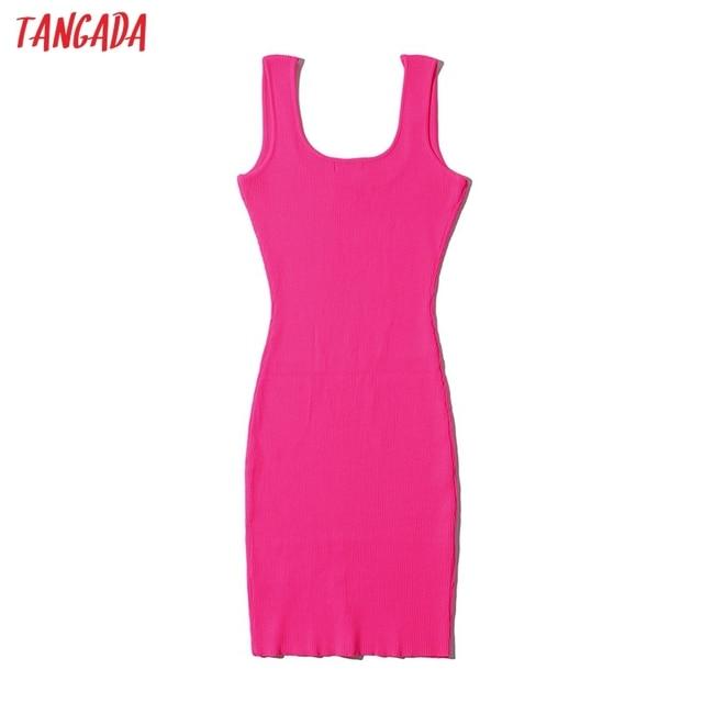 Tangada 2021 Women Candy Color Knit Party Dress Strap Sleeveless Ladies Sexy Short Dress Vestidos LK15 6