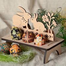 Easter Eggs Shelves Stand Rack Holder for Home Happy Easter Decorations Rabbit Pattern