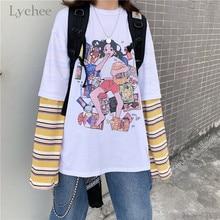 Lychee Harajuku Stripe Fake 2 Pieces Women T-shirts Top Tees