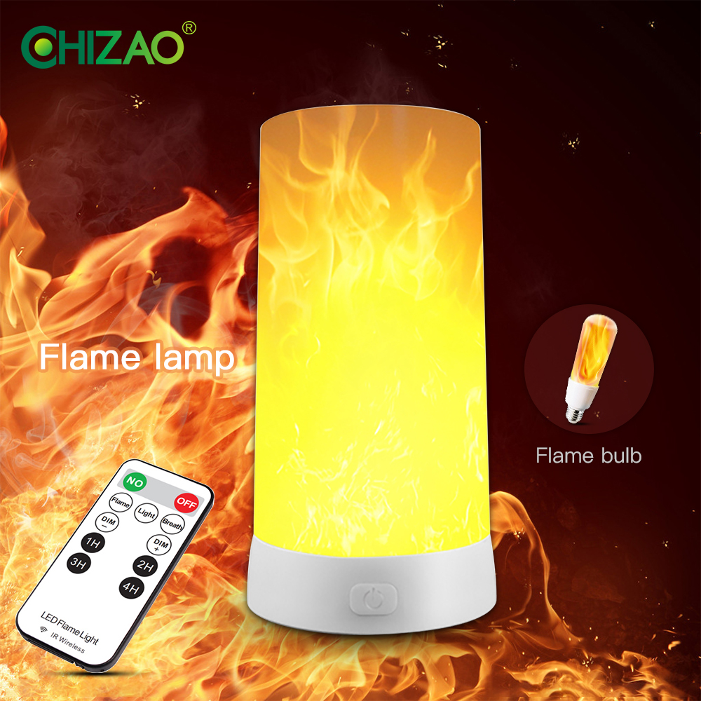 CHIZAO Flame Effect Light 4 Modes Flame Table Lamp With Gravity Sensor For Atmosphere Festival Christmas Decoration Hallowmas
