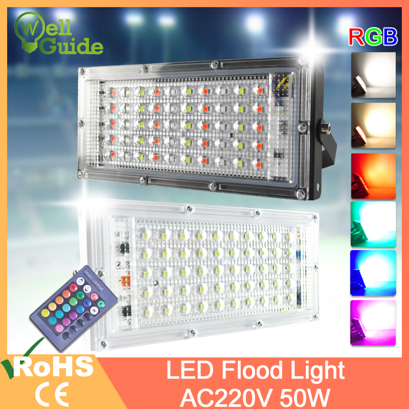 LED Flood Light 50W RGB Led Floodlight Remote Control COB Chip LED Street Lamp AC 220V 240V Waterproof IP65 Outdoor Lighting