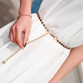 Moda eleganckie damskie metalowe regulowane cienkie damskie łańcuszek w talii kobiety sukienka na ramiączkach pas perłowy ozdobne akcesoria odzieżowe tanie i dobre opinie Dla osób dorosłych CN (pochodzenie) WOMEN 0 8cm Stałe 0x xcm 100006178