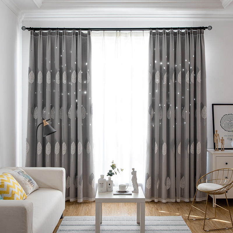 Hollow Star Printing Shading Curtains For Living Dining Room Bedroom.